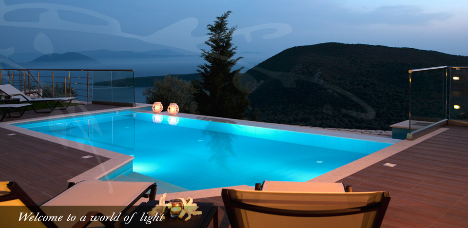 Evgiros Villas Pool night